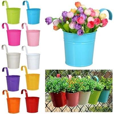 New 10pcs Metal Flower Plant Pot Basket Balcony Garden Wall Fence Hanging Planter