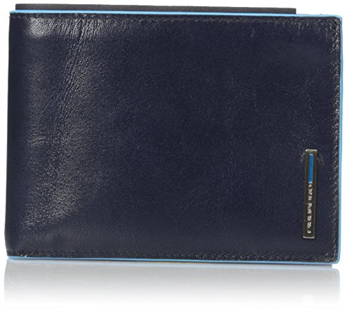 Piquadro Man's Wallet In Leather, Dark Blue, One Size by Piquadro