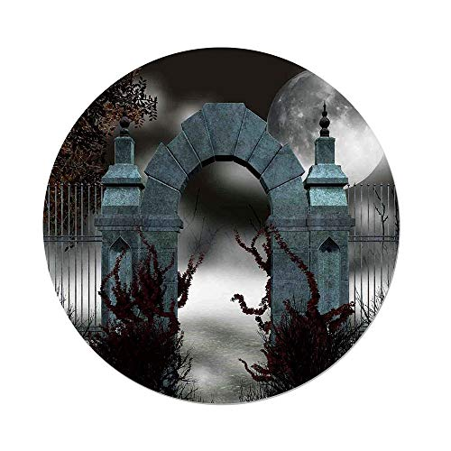 iPrint Polyester Round Tablecloth,Gothic,Scary Medieval Middle Age Stone Gate with Fog Full Moon and Ivy Dark Night Theme Art,Grey Red,Dining Room Kitchen Picnic Table Cloth Cover,for Outdoor -