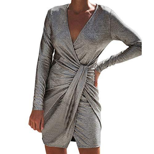 - Caopixx Dress for Women Elegant V-Neck Ruched Metallic Knit High Slit Evening Party Cocktail Dress Mini