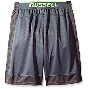 Russell Athletic Men's Big and Tall Color Blocked Jersey Shorts with Pockets, Charcoal, 2X