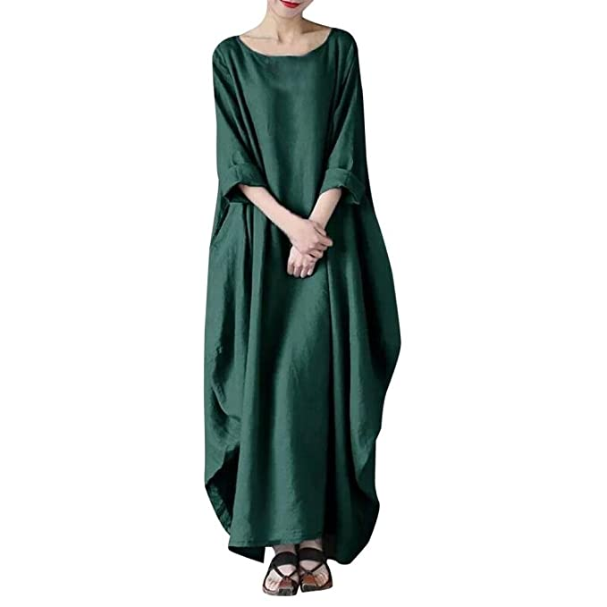 Women Fashion Crew Neck Loose Casual Solid Cotton Baggy Oversize Long Maxi Dress