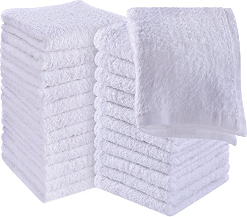 Utopia Towels Cotton Washcloths, 24 - Pack, White - Bar Mop Cloths