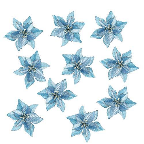 - TangTanger 10 Pcs Glitter Artificial Wedding Christmas Flowers Glitter Christmas Tree Ornaments (Blue)