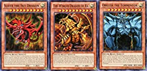 Amazon.com: YuGiOh Mosaic Rare God Cards Set of 3 Egyptian