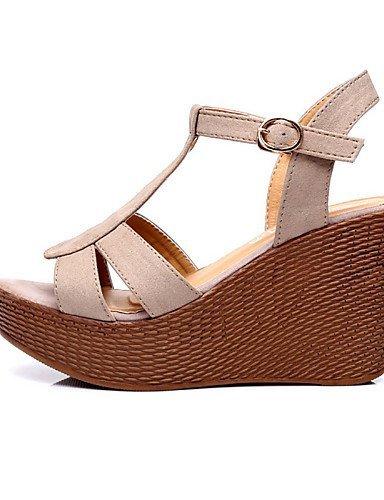ShangYi Womens Shoes Leather Wedge Heel Wedges / Heels / Slingback / Open Toe Sandals Dress Black / Gray gray