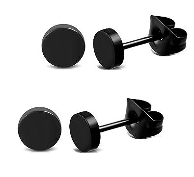 Ohrringe schwarz  Herren und Damen Ohrstecker Ohrringe Schwarz Edelstahl 5mm breit ...
