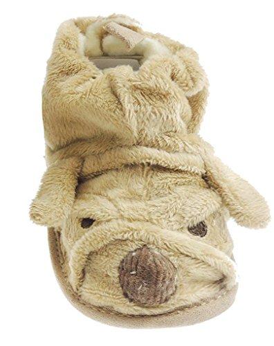 Baby Jungen/Mädchen, weich, aus Baumwolle, für Kleinkinder, rutschfest, Hundegesicht Shoes- In 3 s