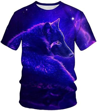 Lobo Animal Azul Púrpura Camisetas Informales De Manga Corta con Cuello Redondo Y Estampado Casual para Hombre Tops: Amazon.es: Ropa y accesorios