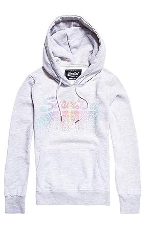 vendu dans le monde entier regard détaillé soldes Superdry V Logo Cascade Entry Hood Sweat à Capuche Femme ...