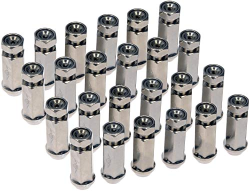 Dorman 712-245MXL Racing Style XL 1/2-20 Lug Nuts for Select Models, Hyper Silver (Pack of 24)