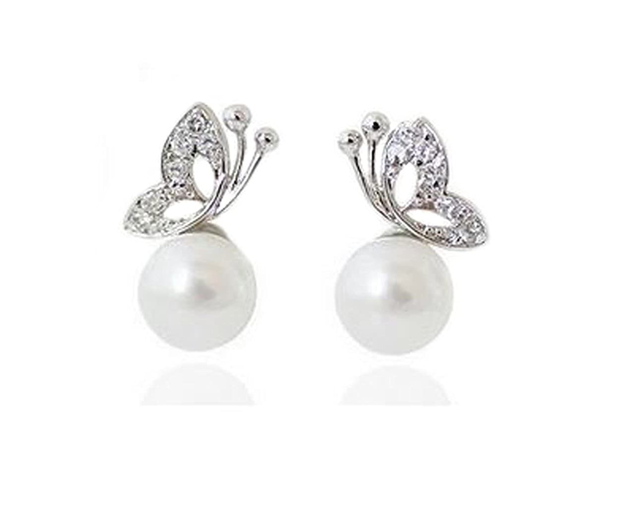 earrings stud pearl set water fresh round white zirconia halo accent double cubic gold simulated
