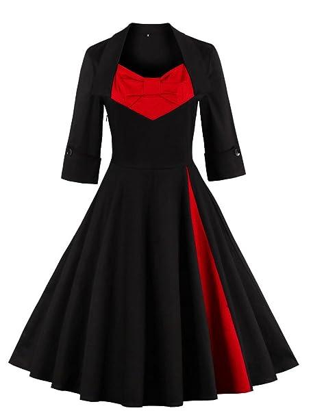 vkstar® Retro Otoño 50 lazo para vestido de noche/Cóctel Manga Larga Vestido Rockabilly