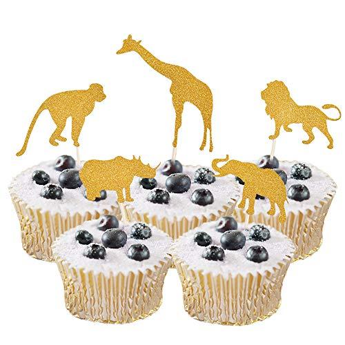 HZOnline Glitter Cupcake Cake Muffin Toppers Wild Animals Zoo Lion Elephant Giraffe Monkey Rhinoceros Baby Shower Food Picks Boys' Birthday Party Favors (20PCS Golden)