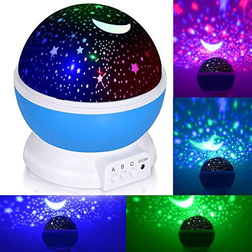 adoric 360 degrés de rotation 3 Mode de lumière du Projecteur de la étoile romantique Cosmos Luna du ciel de la lampe de projection de Veilleuse chambre pour enfants, bébés, cadeaux de la Noël, Les amateurs de batterie via USB/
