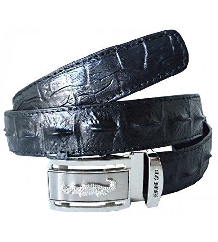 [Authentic Sefaro Crocodile Skin Men's Big Hornback Belt 36 Black] (Hornback Crocodile Belt)