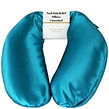 Neck Pain Relief Pillow - Hot/Cold Therapeutic Pillows for Shoulder & Neck Pain, Sleeping, Stress & Migraine Relief - Unscented Neck Wrap (Aqua - Silky Satin)