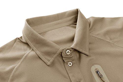 TACVASEN Homme Outdoor T-Shirt Respirant Randonnée décontractée Chemise de Sport avec Poche zippée 2