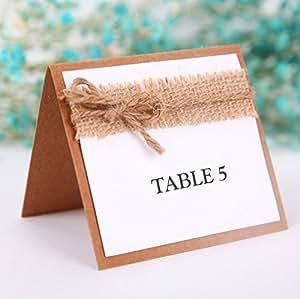 Veewon rústico invitados parte nombre tarjetas de lugar de mesa decoración de la boda favor, juego de 10