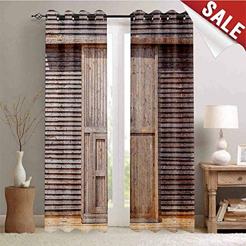 Hengshu Industrial Decor Curtains by Old Wooden Timber Oak Barn Door Farmhouse Countryside Rural House Village Artsy Print Room Darkening Wide Curtains W108 x L96 Inch Brown
