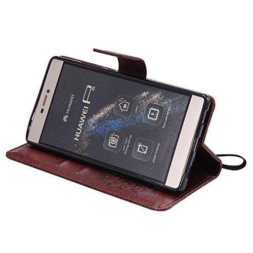 YHUISEN Huawei P8 caso, diseño de la impresión de la flor del sol Caja de cuero de la PU de la PU del tirón de la impresión del acollador con la ranura para tarjeta / soporte para Huawei P8 ( Color :  Brown