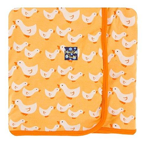 Duckie Baby Blanket (Kickee Pants Custom Stroller Blanket, Fuzzy Bee Duckies with Sunset Trim & Backing)