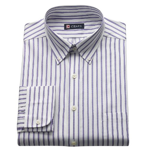 Non Iron Twill Stripe Dress Shirt (Chaps Mens Classic Fit Button Down Collar Twill Dress Shirt Striped (17 - 17 1/2 Neck 34/35)