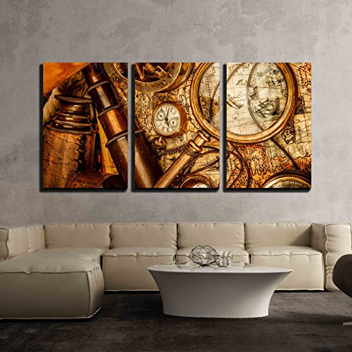 wall26 - 3 Piece Canvas Wall Art - Vintage Grunge Still Life. Vintage Items on Ancient Map in 1565. - Modern Home Decor Stretched and Framed Ready to Hang - 16