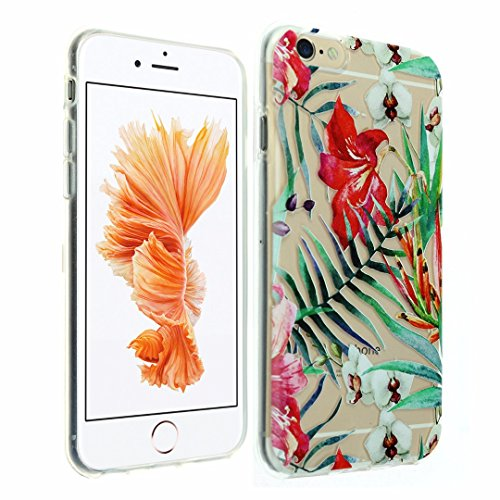 iPhone 6s Case, iPhone 6 Case, DURARMOR® FlexArmor Clear Tiger Lily Orchid Paradise Flower Soft Flexible TPU Bumper Case Ultra Thin ScratchSafe Shock Absorbing Defender Protective Cover for iphone 6s