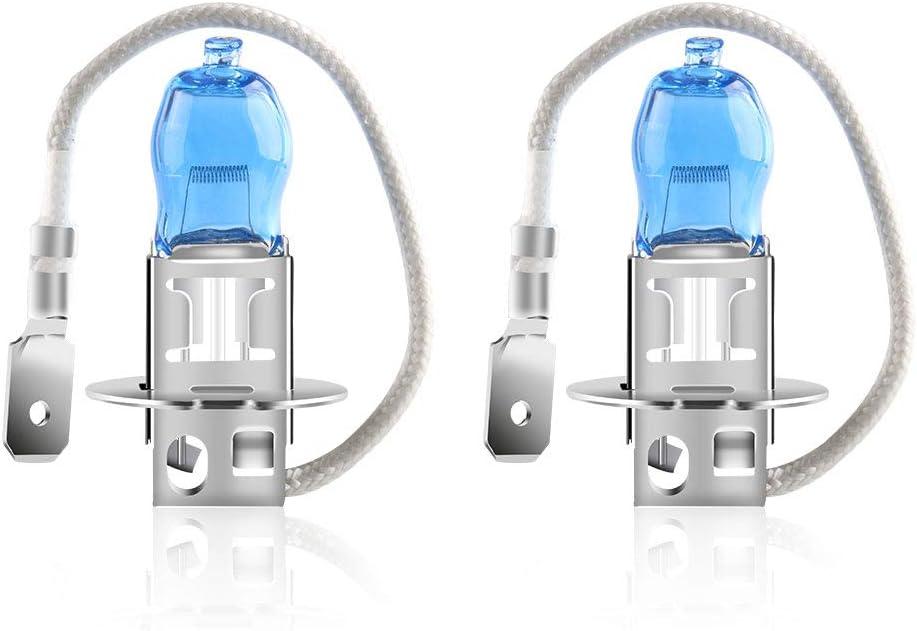 2 piezas H3 100W bombillas hal/ógenas de faros xen/ón blanco 6000K 12V Auto luces antiniebla del coche DRL
