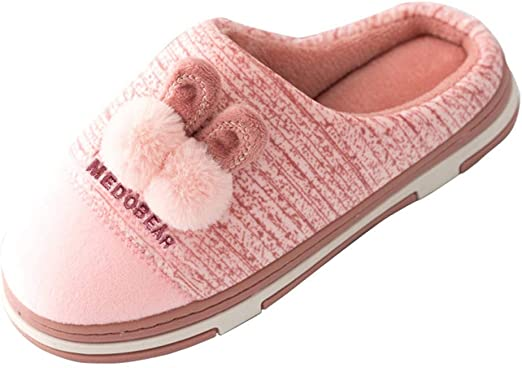 Womens Casual Home Cotton Slippers,Ladies Cartoon Non-Slip Warm Open Toe Slip on Indoor Shoes