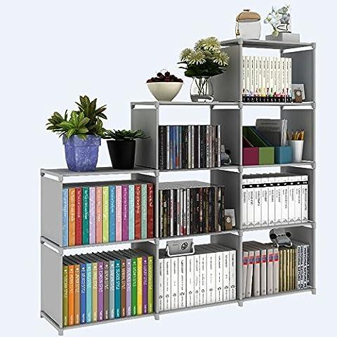Bookshelf 9-Cubes Book Shelf Office Storage Shelf Plastic Storage Cabinet (Grey) - Modular Office Storage