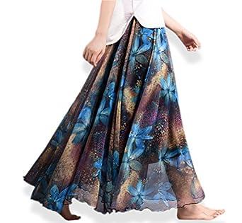 V28® Womens Summer Chiffon Floral Print Maxi Long Skirt at Amazon
