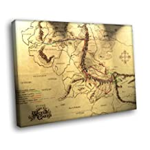H5D8899 Fellowship's Journey Map Lord of the Rings 20x16 FRAMED CANVAS PRINT