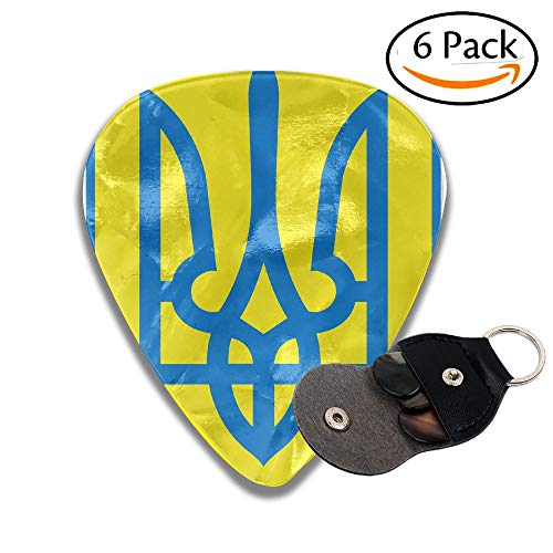 Coat Of Arms Of Ukraine Classical Celluloid Guitar Picks 6 Pack For Electric Guitar, Acoustic Guitar, Mandolin, And Bass