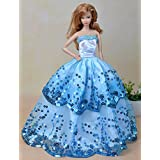Olivia's Doll Closet Blue Ball Gown with Light Blue Sequined Lace Details Made To Fit Barbie Doll