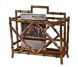 Magazine Racks - Canton Magazine Rack - Antique Gold Finish - Bamboo Style Magazine Holder
