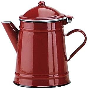 Ibili 910210 - Cafetera cónica de acero esmaltado vitrificado Roja 1 l