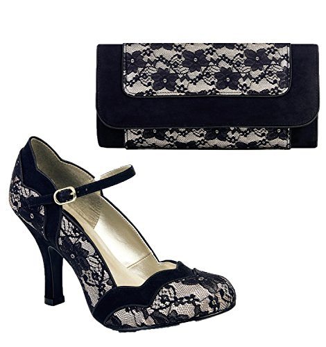Black Jane amp; Matching Shoo Mary Ruby Imogen Bag Charleston Women's Lace Pumps Nude vUOxRq