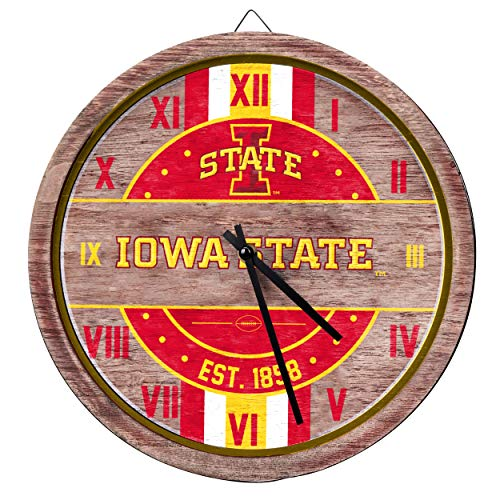FOCO NCAA Iowa State Cyclones Team Logo Wood Barrel Wall ClockTeam Logo Wood Barrel Wall Clock, Team Color, One Size