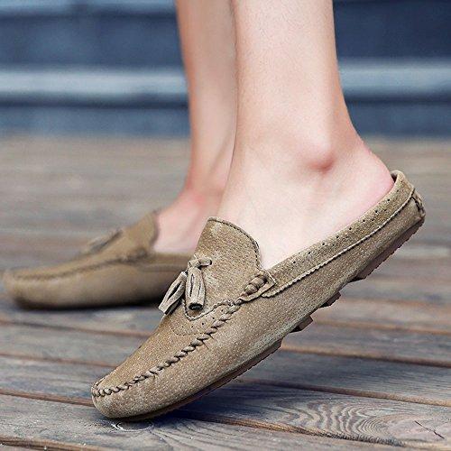 Natural Antideslizante Cerdo Casuales Zapatos Verano Piel Del De Caqui La Hombres Ligera Los 5nCXxYw88q