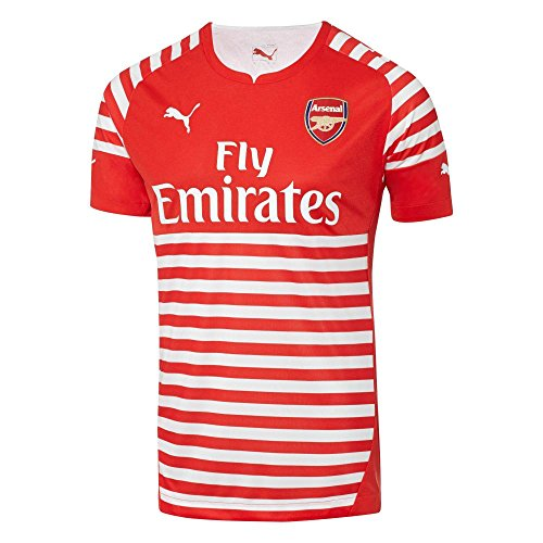 Puma Men's AFC Pre Match EPL Jersey with Sponsor Log, High Risk Red/White, Small