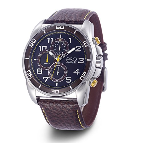 ESQ Men's Sport Stainless Steel Analog-Quartz Watch with Leather-Pig-Skin Strap, Brown, 5.4 (Model: 37ESQE21101A)