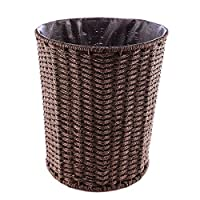 WOLFBUSH Woven Trash Can, Round Rattan Waste Basket Household Waterproof Garbage Bin Without Lid for Bathroom Office Kitchen