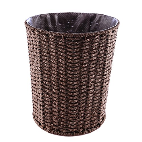 Fcoson Paper Wastebasket Rattan Woven Storage Baskets Decorative Round Trash can for Bedroom Desktop Coffee (Large Basket Waste Round Woven)