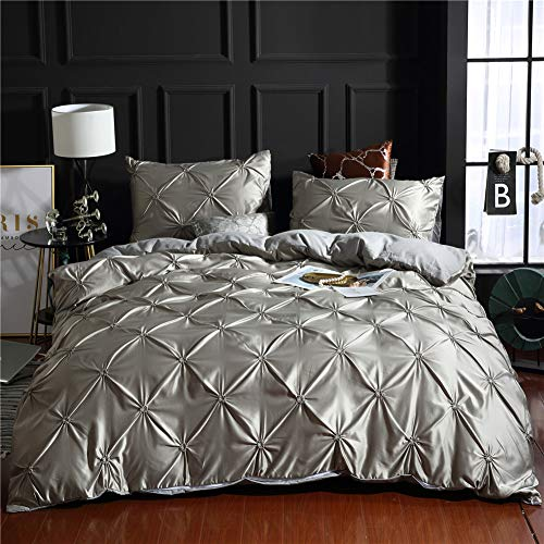 Pinch Pleated Bedding Grey Silk Like Satin Quilt Cover Pintuck Ruffle Design Grey Silky Microfiber Bedding Sets King (104″x90″) One Pintuck Duvet Cover Two Pillowcases (Grey, King)