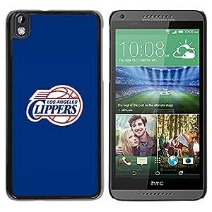 LA Clipper Baloncesto - Metal de aluminio y de plástico duro Caja del teléfono - Negro - HTC DESIRE 816