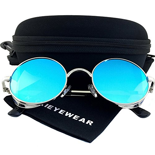 NIKKIEYEWEAR - Vintage Gothic Steampunk Embossed Side Shields Sunglasses (Silver Frame - Blue - Sunglasses Embossed