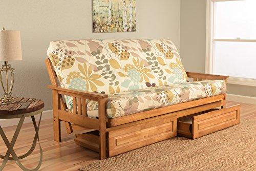 Kodiak Furniture KFMODBTENGGDLF5MD4 Monterey Futon Set with Butternut Finish and Storage Drawers, Full, English Garden from Kodiak Furniture