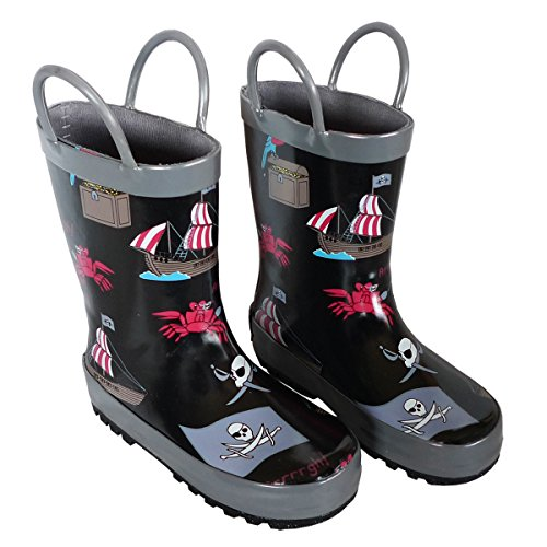 Foxfire for Kids Black Rubber Boot with Pirate Theme Size (Kids Black Pirate Boots)